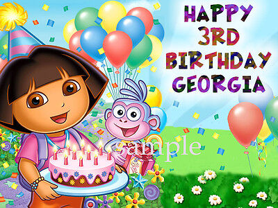 DORA Edible Birthday CAKE Image Icing Topper Decoration FREE SHIPPING