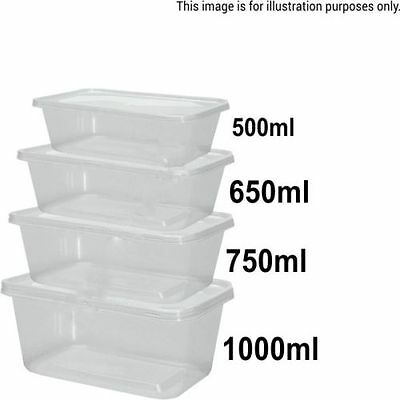 Plastic Containers Tubs Clear With Lids Microwave Food Safe 500 650 750 1000ml