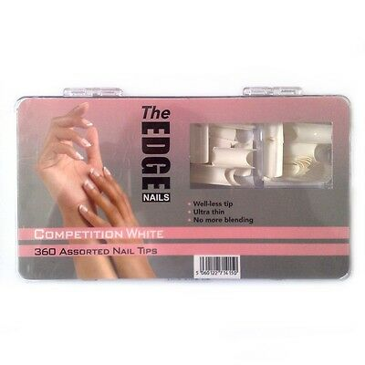 THE EDGE BOX 360 COMPETITION FRENCH WHITE WELL-LESS NAIL TIPS acrylic uv gel