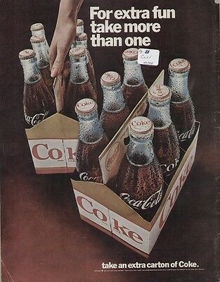 """Coca Cola Coke 1967 Vintage Soda Ad """"For Extra Fun, Take More Than One"""" 6-Pack"""