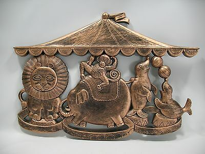 VTG Syroco Copper Craft Circus Animals Wall Hanging Lion/Monkey/Elephant/Seal