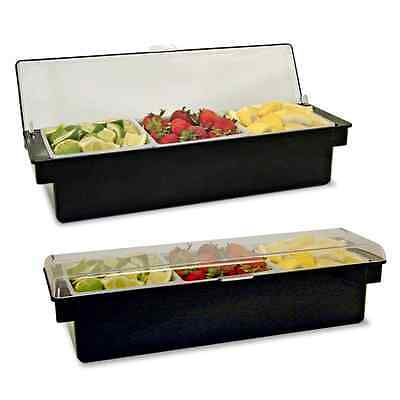 Chilled Condiment Holder / Tray Holds ICE 3 Compartments BLACK / Clear Lid