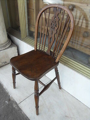 Antique Style Ash & Elm Wheel Back  Kitchen Dining Chair