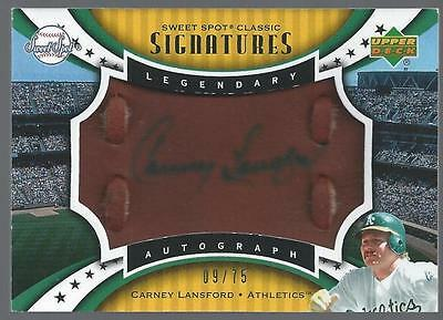 CARNEY LANSFORD, 2007 Sweet Spot Classic Signatures Auto Leather Blue Ink/75 A's