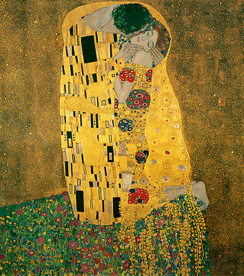 Oil painting Gustav Klimt - Abstract young lovers together on canvas