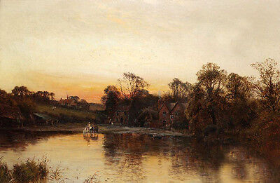 Art Oil painting horseman by the river with cottage in sunset landscape canvas