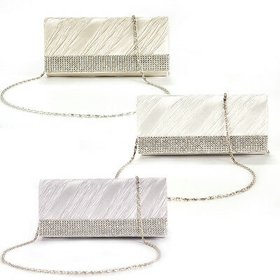 Rhinestone Pleated Clutch Satin Flap Women Purse Wedding Prom Hand Carry Bag