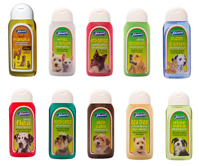 Johnsons Dog Shampoo Conditioner Flea Anti Tangle Sensitive Bleu Fonce Free Post