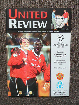 UNITED REVIEW MANCHESTER UTD vs OLYMPIQUE MARSEILLE 1999 PROGRAMME
