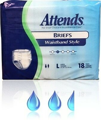 Attends Briefs Waistband Style 6 Tapes, Large,  18er Packung