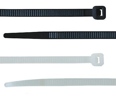 100 CABLE TIES, BLACK OR WHITE, 100mm 140mm 200mm 300mm 370mm 430mm & 710mm
