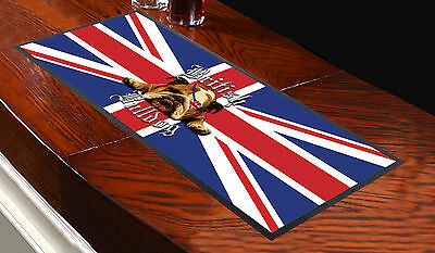 Bristish Bulldog Union Jack Bar Runner Ideal For Home Cocktail Party Pub Beer