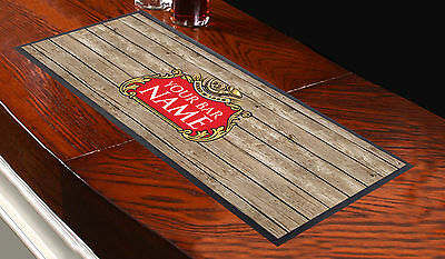 Personalised Beer Label Wood Effect Bar Runner Ideal For Home Cocktail Party