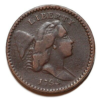 1794 C-9 R-2 Liberty Cap Half Cent Coin 1/2c