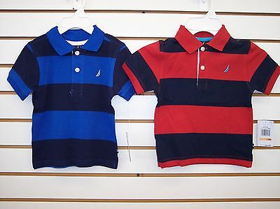 Infant Boys Nautica $34.50 Blue or Red Striped Polo Shirt Sizes 12m - 24m