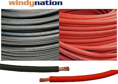 40' 4 AWG WELDING CABLE  20' Red 20' Black GAUGE COPPER WIRE BATTERY SOLAR LEADS