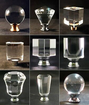 Lamp Finial-Clear Crystal Lamp Finials With Polished Chrome Bases
