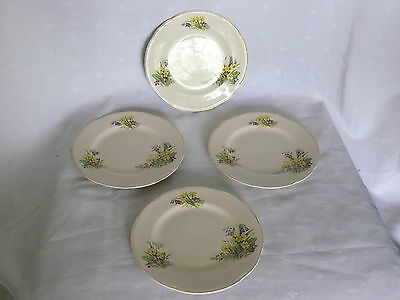 Vintage John Maddock & Sons Side salad Bread Plates Violets Daisies Daffodils