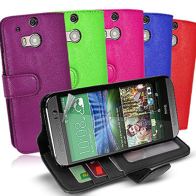 Side ID Wallet Leather Case Cover for HTC One M8 + Screen Guard