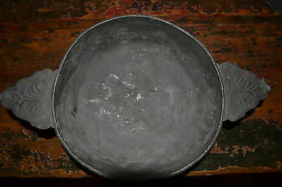Antique 19 th century pewter/cast metal Scottish porringer/ porridge bowl,c 1890