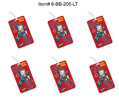 91185eafe799 SET OF 6- Lenticular Betty Boop Luggage Tags - Red Motorcycle Flip  #6-BB-205-LT#