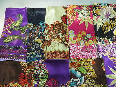 *US Seller*lot of 10 wholesale satin square wraps Women Head Scarves 39 inches