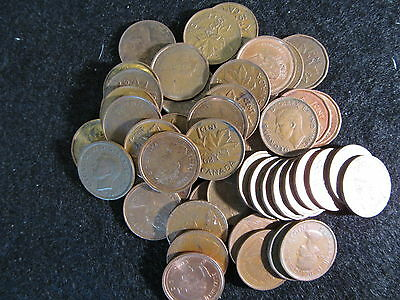 One Roll Of Mixed Date Canadian Pennies Will Range From Fine To Au  Nice Coins