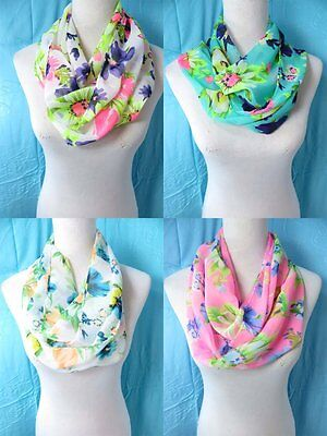*US Seller*lot of 10 wholesale  floral Infinity scarf circle loop eternity cowl