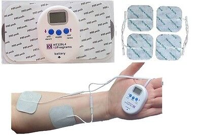 Digital Mini Wireless Tens Machine & Lead Adapter And 4 Square Tens Pads