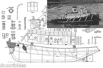 "Model Boat Plan Scale 48"" Radio control Tug Boat Plans & Building"