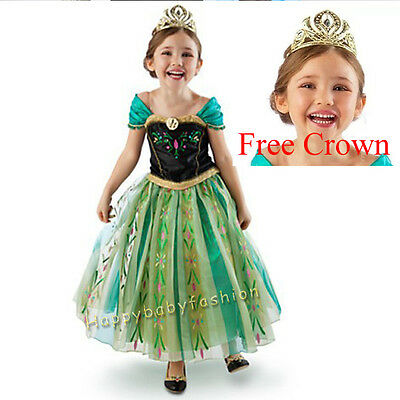 Girls Frozen Princess Anna Costume Party Birthday Dress size: 3-10Yrs