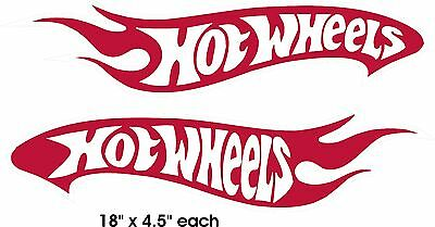 """2 Hot Wheels Decals Car Sticker Red and White Vinyl New 18""""x4.5"""" each"""