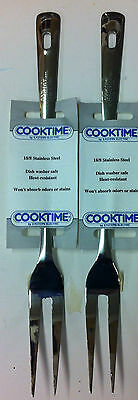 "TWO COOKTIME 13"" Stainless Steel 18/8, Meat Serving Fork, Two Prong - NEW"