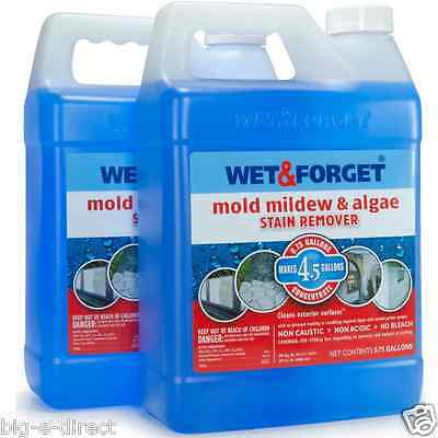2 Pk Wet & Forget Outdoor Mold, Mildew & Algae Stain Remover Cleaner 0.75 Gallon