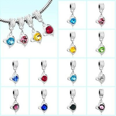 Silver Plated Heart Dangle Crystal Beads Pendant Charm Fit European Bracelets