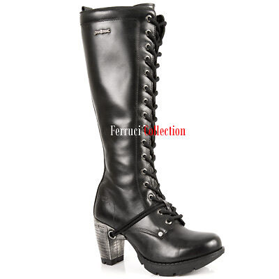 55cd55654d15 NEWROCK New Rock TR005-S1 Ladies Black Leather Buckle Lace Knee High Zip  Boots