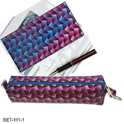 SETOF2- Lenticular Purple Blue Black Pencil Case Checkbook Cover #SET-111-1#