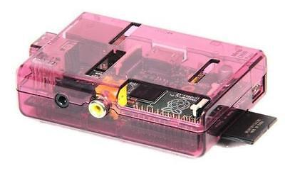 Burgundy Transparent case for Raspberry Pi Model B with GPIO Cut-Outs and Slots.