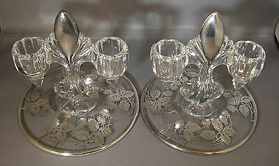 New Martinsville Pair of Double Candlestick Holders Sterling Overlay Teardrop