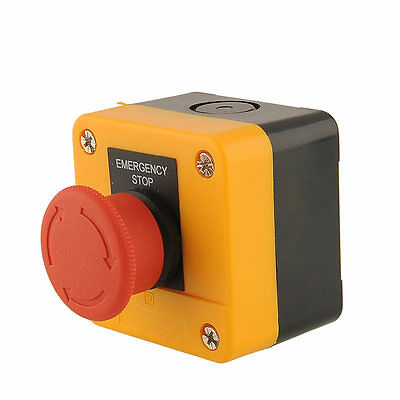 1PC Red Sign Emergency Stop Button Mushroom Switch Weatherproof AC 10A