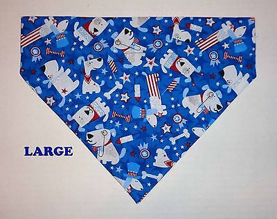 Over Collar Slide On Pet Dog Cat Bandana Scarf Flags Stars 4th of July USA Dogs