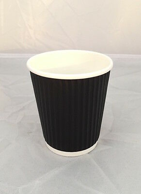 500 x 8oz Black Triple Ripple Wall Disposable Paper Coffee Cups Only