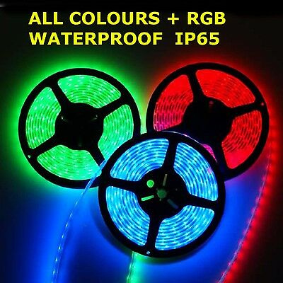 5M 3528 Smd 300 Led Light Strip Waterproof Warm White Red Blue Green Rgb 12V