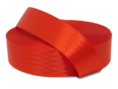 11 panel Polyester webbing, Seat belt webbing, 47mm, Red, soft and very strong