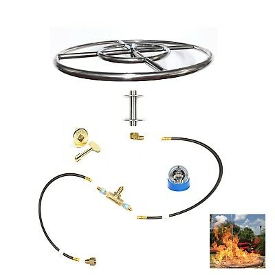 FR18K++: 18″ Fire Ring SS316 Complete Deluxe Fire Pit Kit for pre-plumbed LP/NG