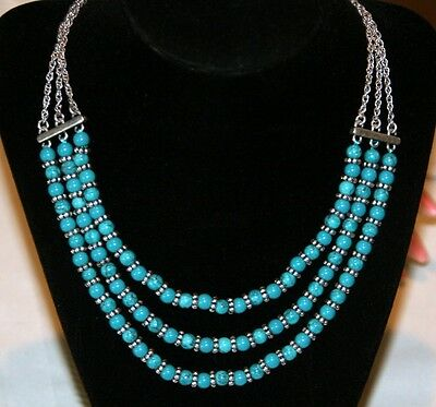 Lucky Brand triple Necklace silver tone turquoise semi precious beads chain $45