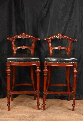 Pair Victorian Hand Carved Mahogany Bar Stools Seats