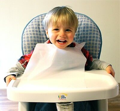 25 Pack Of Disposable White Plastic Children's Bibs Free Shipping