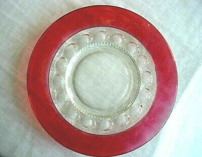Vintage King's Crown Ruby Red Stained/Flashed Pressed Glass Thumbprint Plate