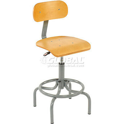 Interion Wooden Swivel Stool With Pneumatic Height Adjustment